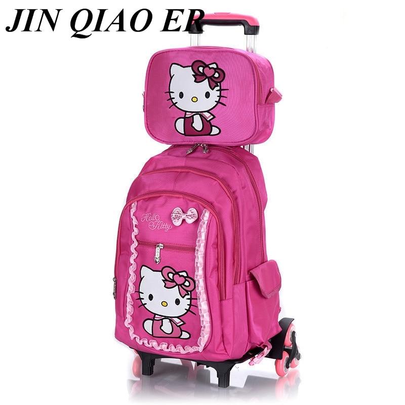 Fashion lovely Trolley School bag For Girls Removable cartoon School Backpack on 2Wheels Children Bookbag kids Schoolbag mochila