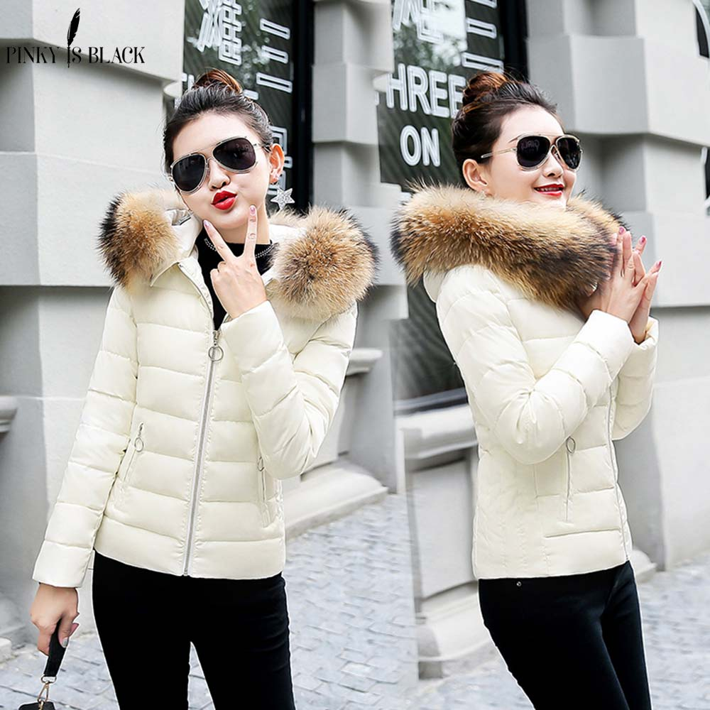 PinkyIsBlack women winter jacket 2018 hooded plus size 3XL with fur collar warm thick short parkas cotton padded female coats