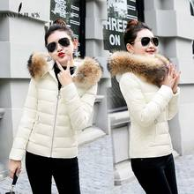 PinkyIsBlack women winter jacket 2018 hooded plus size 3XL with fur collar warm thick short parkas cotton padded female coats цены онлайн