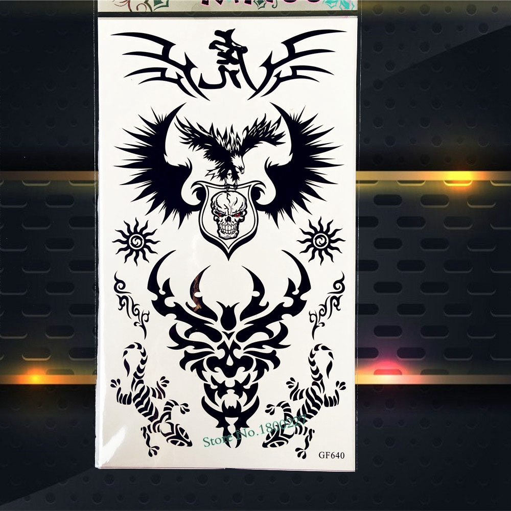 Men Body Art Painting Tattoo Sticker Waterproof Fake Henna Tattoo Black Ink Color 17x10cm Skull Armband Temporary Tattoo Sticker