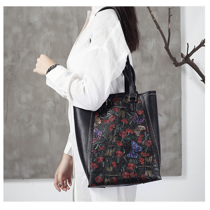 High Quality Genuine Leather Bag Vintage Flower Embossed Women Bag Brands Designer Real Cow Leather Ladies