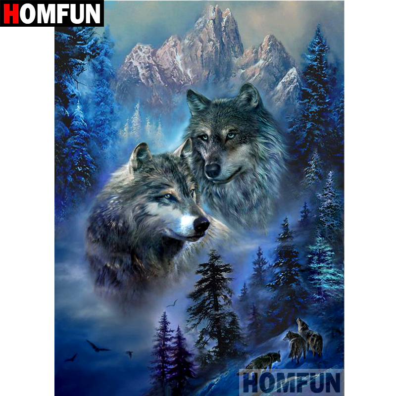 HOMFUN 5D DIY Diamond Painting Full Square Round Drill quot Animal wolf quot Embroidery Cross Stitch gift Home Decor Gift A08470 in Diamond Painting Cross Stitch from Home amp Garden