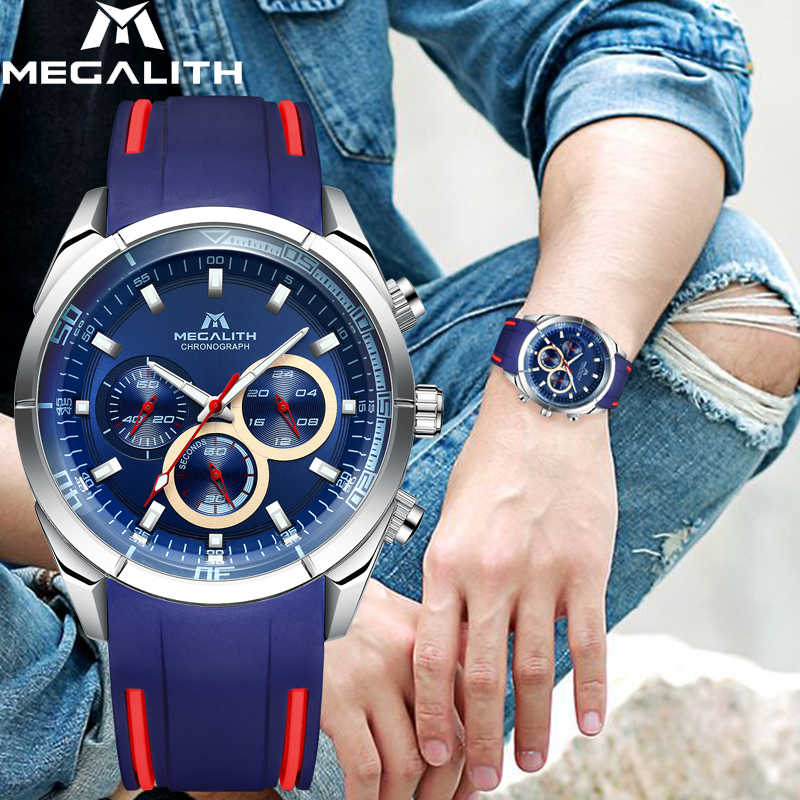 Megalithic Tomb Jam Tangan Olahraga Pria Chronograph Analog QUARTZ Watch dengan Tahan Air Tanggal Karet Silikon Tali Wristswatch untuk Pria Jam