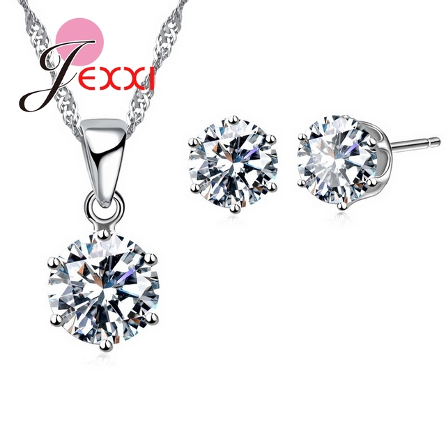 Fashiom 925 Sterling Silver Jewelry Sets Women High Quality 17 Colors CZ   Necklace&Stud Earrings