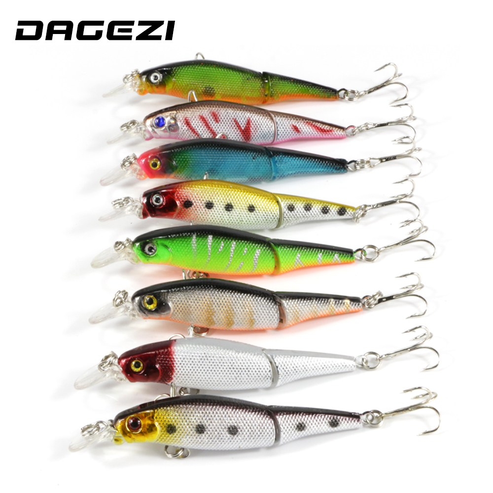 DAGEZI 8pcs/lot Minnow Fishing lure 2 Segment 9.2cm/6g Swimbait Crankbait Hard fishing Bait  with hook Isca Artificial Lures wldslure 1pc 54g minnow sea fishing crankbait bass hard bait tuna lures wobbler trolling lure treble hook