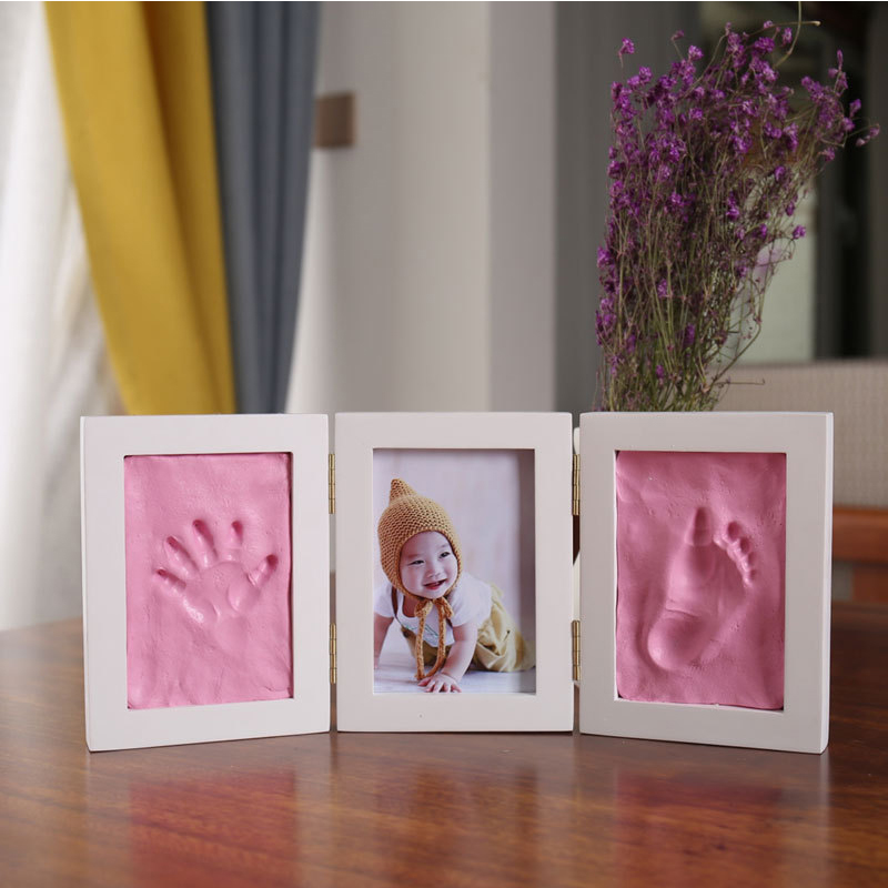 3D DIY Baby Handprint Footprint Photo Frame Non Toxic Baby Care Soft Clay Souvenir Casting Newborn Hand Imprint Children Gifts