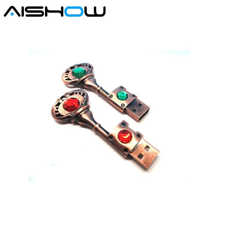 Heart Key 8G 16G 32G 64G USB Flash Drive Memory Stick usb Stick gray Pen drive Waterproof silver metal key ring pendrive