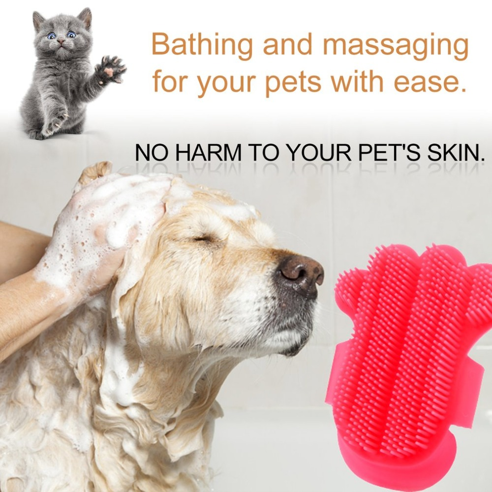 Portable Palm Shaped Pet Bath Brush Soft Plastic Dog Rubbing Brush Durable Pet Shower Gloves Massage Brush Dog Supplies