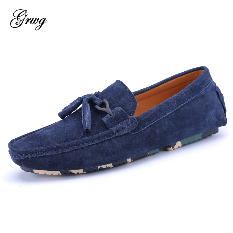 New Summer Spring Men Loafers Genuine suede Leather Breathable Men Casual shoes Mens flats Driving Shoes Soft Moccasins Shoes