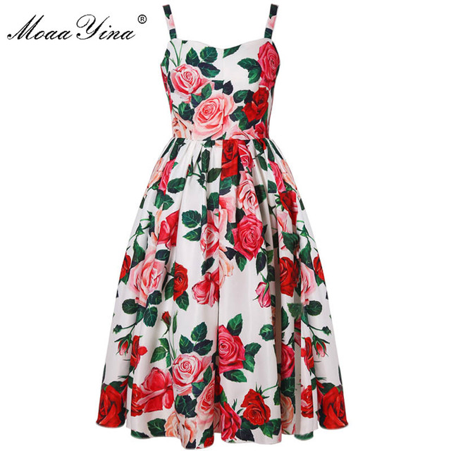 1c8fc98da6c MoaaYina Fashion Designer Runway Dress Summer Women Dress Spaghetti Strap  Rose Floral-Print Sexy Party Elegant Dresses