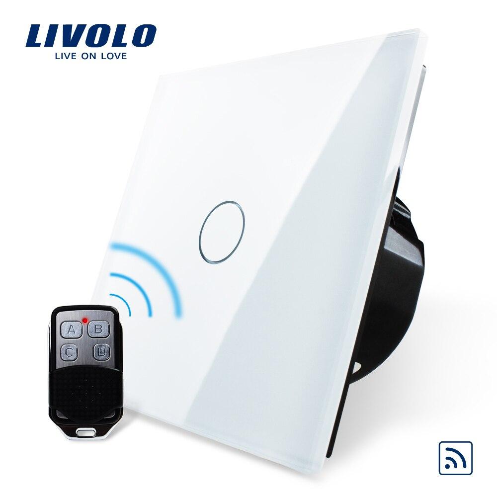 Livolo EU Standard commutateur à distance, 220 ~ 250 V applique murale interrupteur tactile à distance VL-C701R-11 avec Mini télécommande RT12