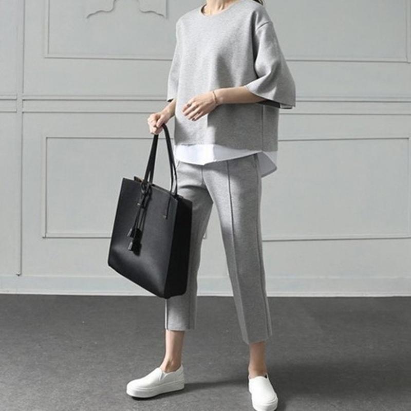 Paris Girl Autumn Casual O Neck Fake 2 Pieces Top 3/4 Length Pants Two Piece Sets Loose Splits Sleeve Cotton Suits