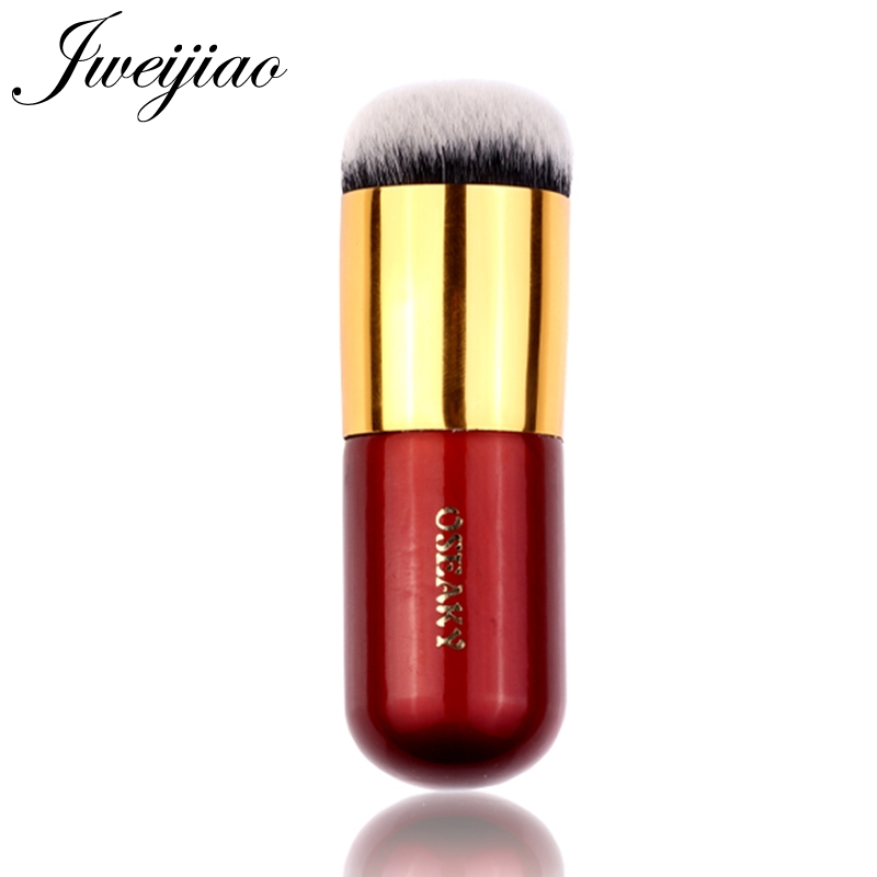 JWEIJIAO 2019 New Chubby Pier Foundation Brush Flat Cream Professional Cosmetic Single Wine Red Golden Metal Pen Makeup Brushes