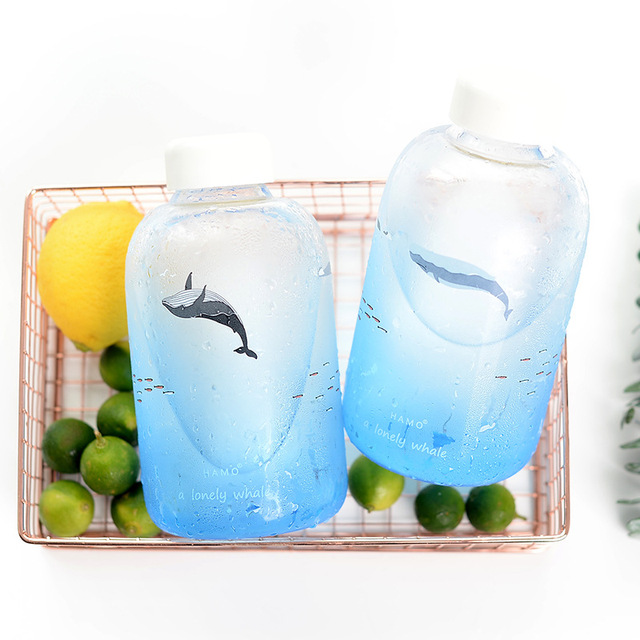 Lonely Whale Print Glass Water Bottle 3