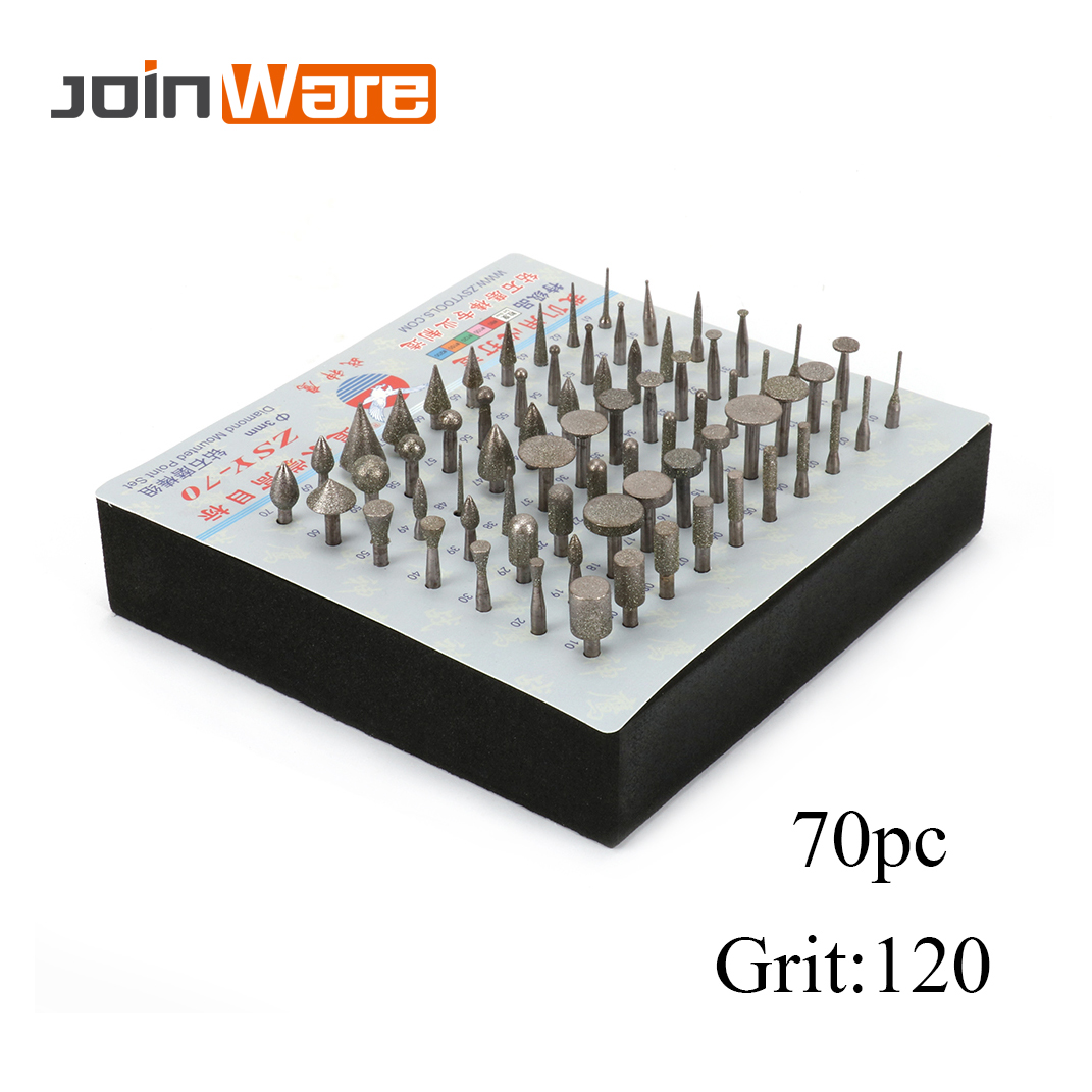 70Pcs Diamond Brazed Burrs Grinding Needles Coated Head For Electric Drill Rotary Tool Cylinder Rod 3mm
