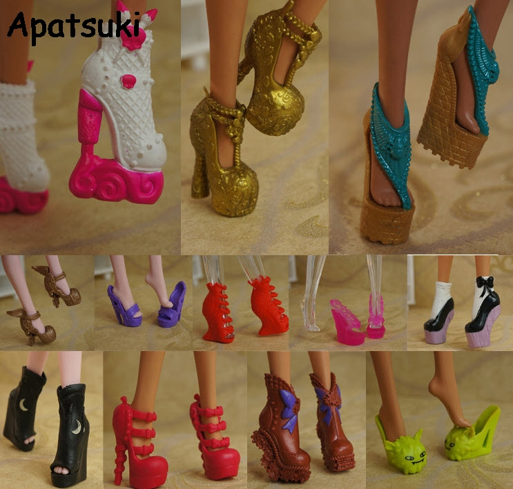 10pairs/lot 2017 New Colorful Accessories Shoes For Monster High Doll Fashion Boots High Heel Shoes Sandals For Monster Doll 500pairs lot wholesale high quality high heel shoes for 30cm dolls mixed styles sandals slippers 10pairs pack doll shoes pack