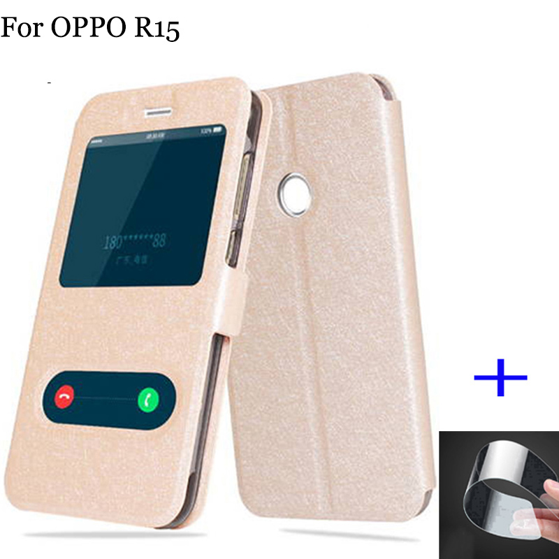 2pcs For OPPO R15 case cover smart view window PU leather back cover For OPPO R 15 case flip cover PACM00 PACT00 shell 6.28inch