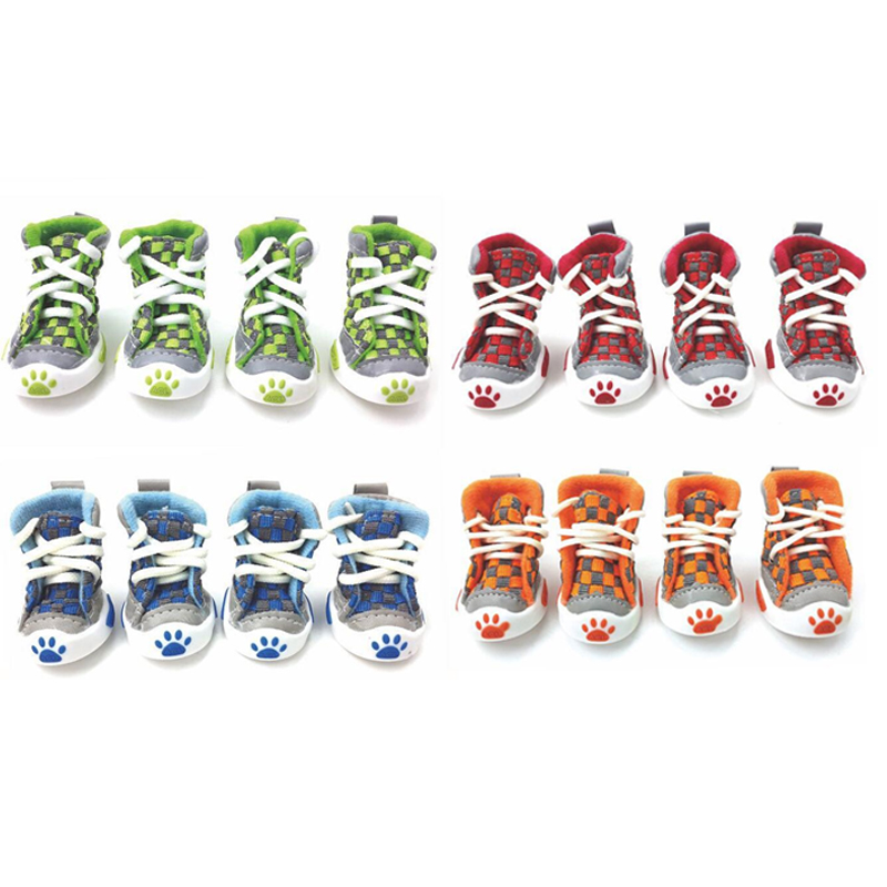 2016 new design 4pcs/set pet dog shoes small puppy boots football style cheap summer for pets four colors