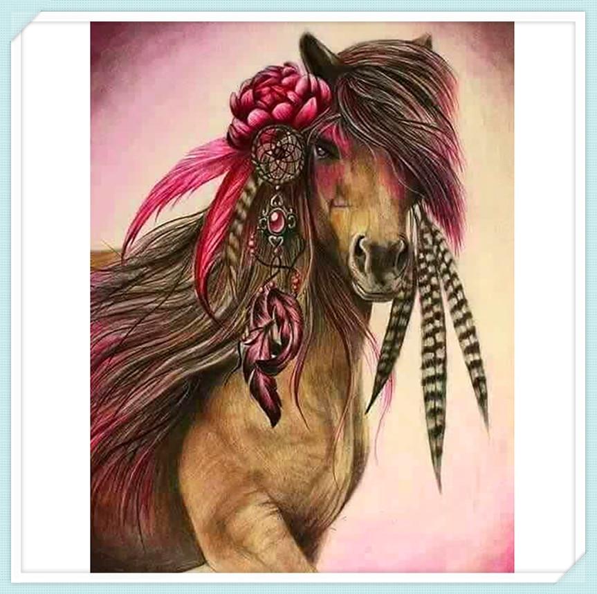 Индийский декор лошадь, 5D DIY Алмазная картина мозаика Вышивка Животных Вышивка крестиком ремесла украшения стены ZC176