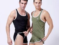 Mesh Sports Men Tight Tank Top Underwaist Undershirts With Metal Ring Gym Vest 5C Available 2pcs