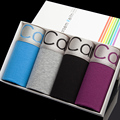 Male panties trunk 100% mid waist cotton comfortable breathable four angle shorts gift box set ck18