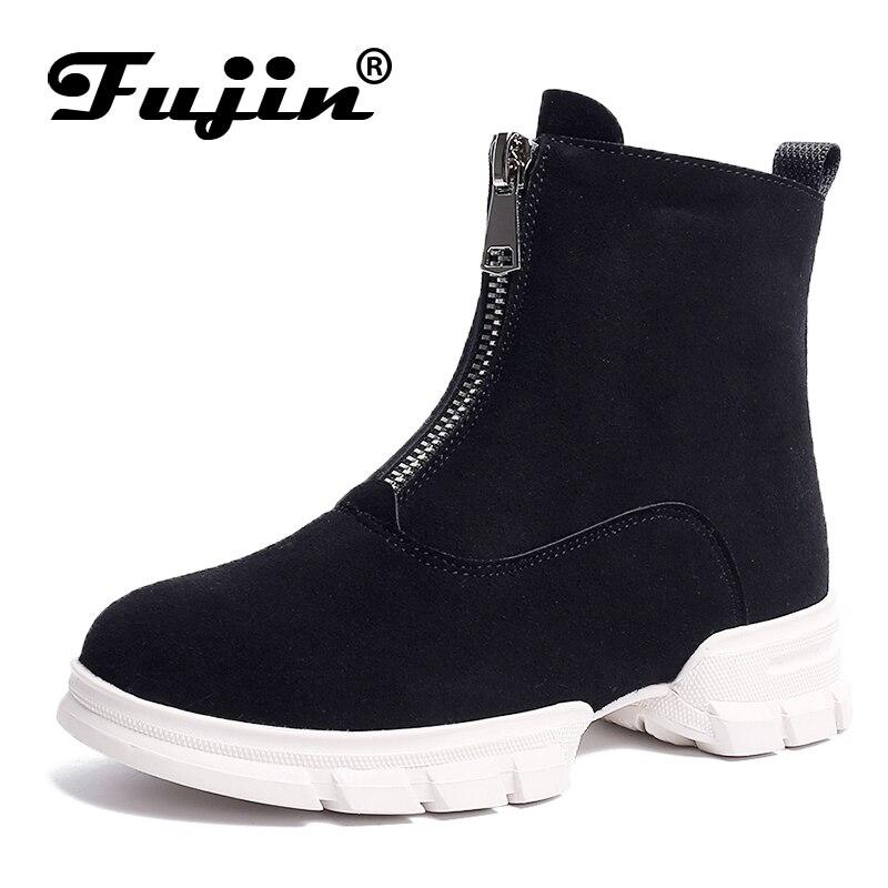 e peluche posteriore di Fujin cerniera posteriore calde marca moda mantenere donne scarpe anteriore stivaletti inverno cerniera per cerniera anteriore qqrPvHI7wc
