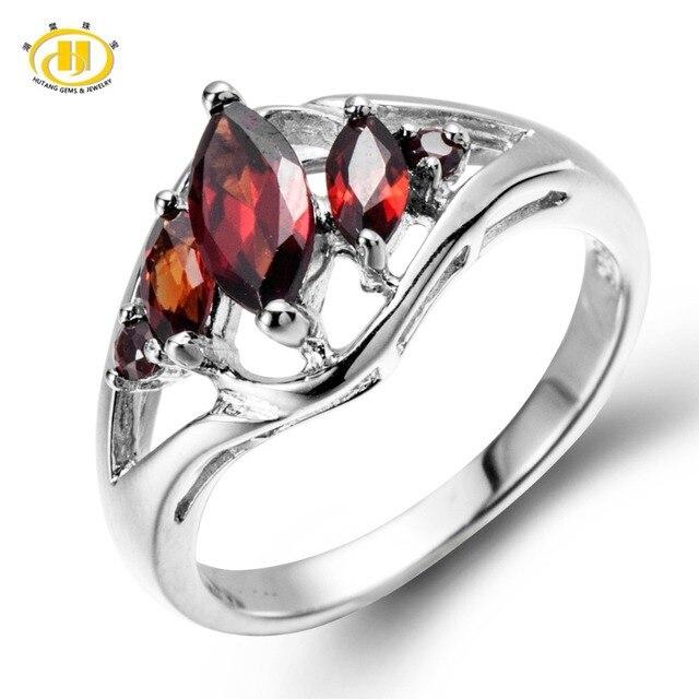 Hutang Новый Природный, Гранат Природный Твердого Тела 925 Серебряное Кольцо Для женского Подарок Gemstone Fine Jewelry