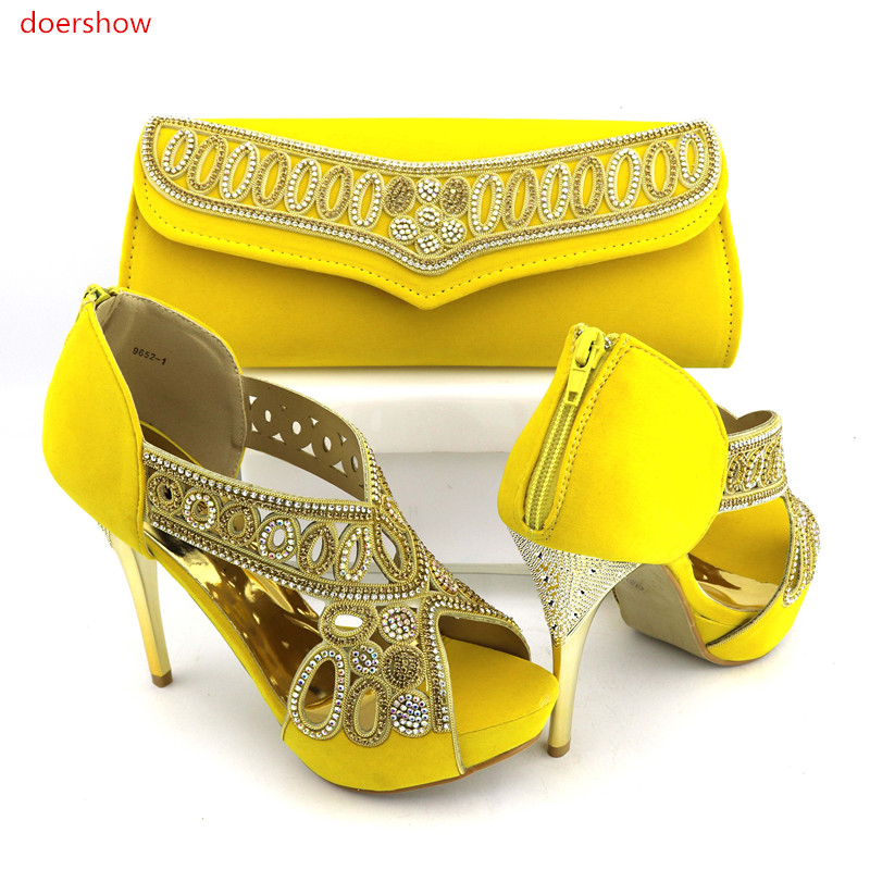 doershow yellow Shoe and Bag Set African Sets Italian Shoes with Matching Bags Set Decorated with stones Nigerian Party NJ1-12 doershow african shoes and bags fashion italian matching shoes and bag set nigerian high heels for wedding dress puw1 19