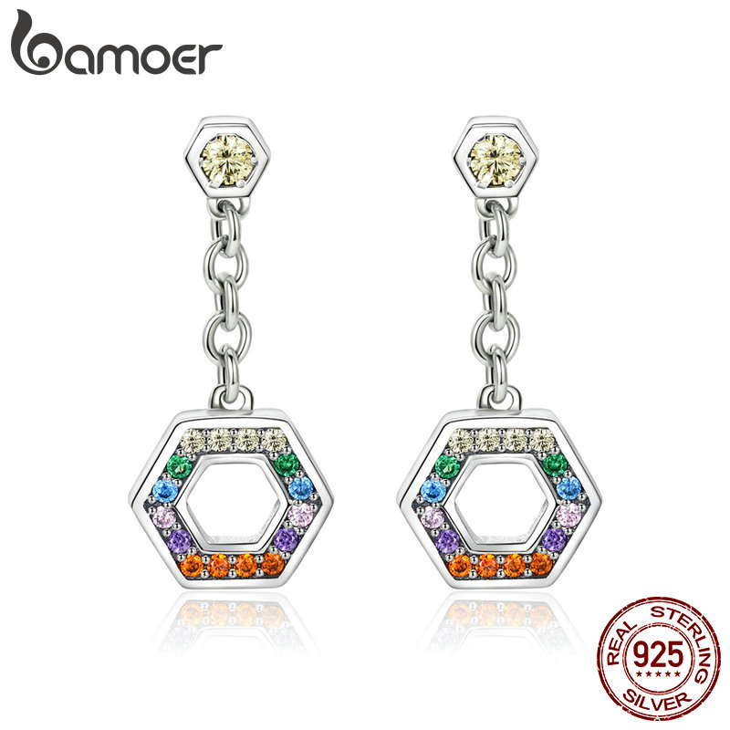 BAMOER clásico de 925 de plata esterlina CZ colorido Arco Iris geométricas pendientes para mujeres de moda de la joyería de la plata esterlina SCE454