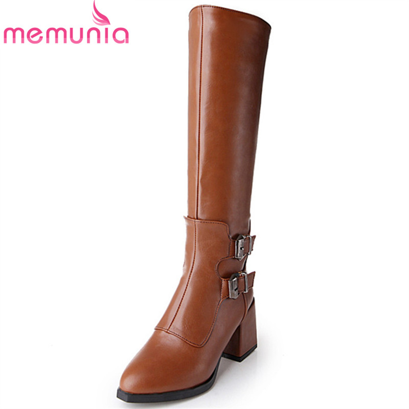 MEMUNIA Pointed toe fashion shoes woman knee high boots PU soft leather high heels shoes spring autumn womens boots size 34-43 memunia knee high boots pu nubuck leather high heels shoes woman autumn boots female solid zip womens boots big size 34 43