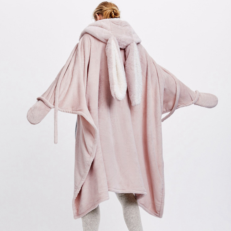 Cute Pink Comfy Blanket Sweatshirt Winter Warm Adults and Children Rabbit Ear Hooded Fleece Blanket Sleepwear Huge Bed Blankets 1