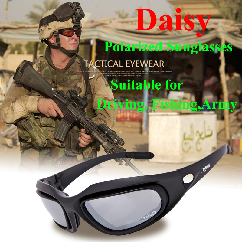 266796bb4d Daisy C5 Polarized Army Goggles Desert Storm 4 Lens Outdoor Sports Hunting Military  Sunglasses UV Protective War Game Glasses