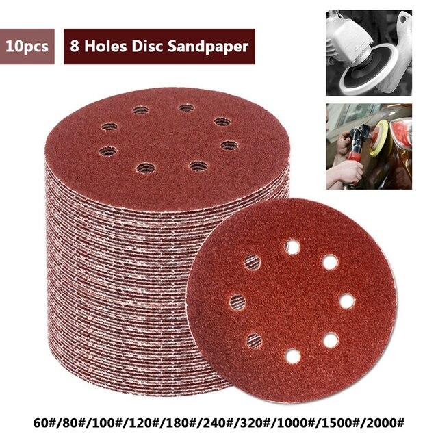 10 יח\סט 125mm עגול נייר זכוכית דיסק חול גיליונות חצץ 60 2000 וו ולולאה מלטש דיסק לסנדר גריסים