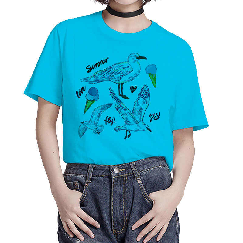 Bgtomon Lovely Seagull nueva camiseta plus szy Casual bird camiseta harajuku o-cuello tops modal adorable camiseta camisetas lindas top