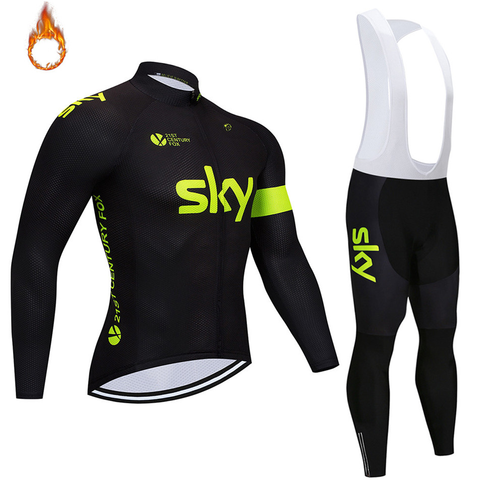 2018 sky Winter Men s Super Warm Cycling Jersey Set Ropa Ciclismo Invierno  Hombre Thermal Fleece Cycling Wear Bike Clothing Suit-in Cycling Sets from  Sports ... ca0dc87a2