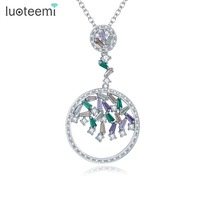 LUOTEEMI Elegant Cubic Zircon Pendants Accessories White Gold Plated Romantic Necklace For Women Birthday Christmas Gifts