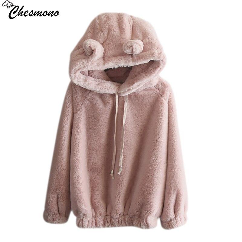 chesmono Autumn Faux Rabbit Fur Hooded Hoodies Sweatshirts Women 2017 Long Sleeve plush pullovers Winter Warm 2017 shirt tops