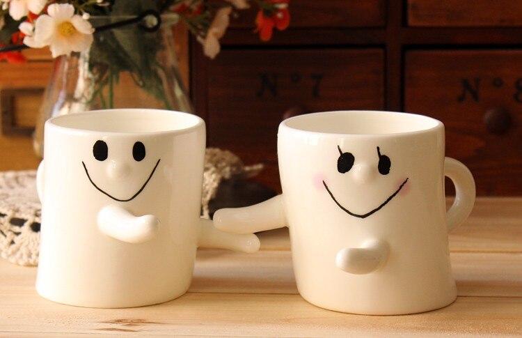 гореща 2бр творческа усмивка халба за лице, сок мляко напитка чай двойка халба, усмихнато лице сватбен подарък за рожден ден на Свети Валентин