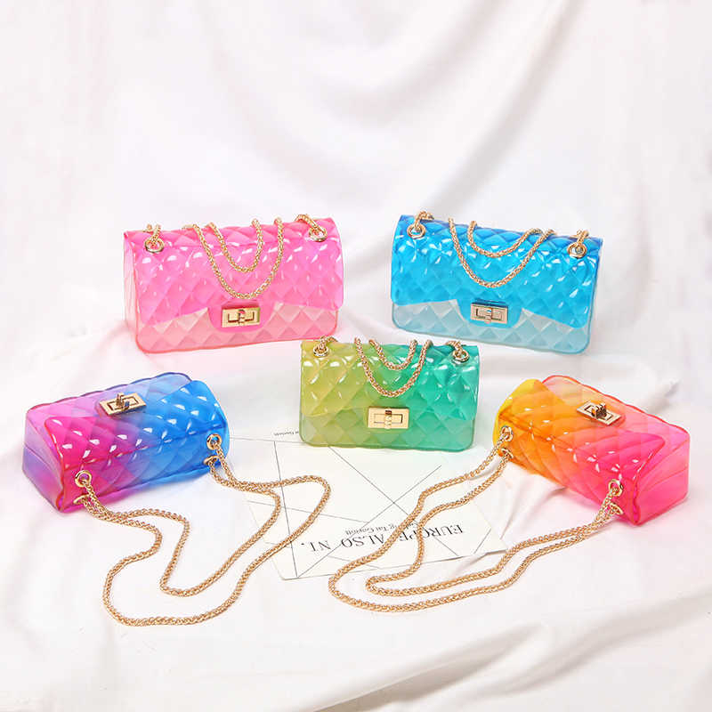 Clear Colorful Transparent jelly Bag Gradient Candy Color Crossbody woman Bags