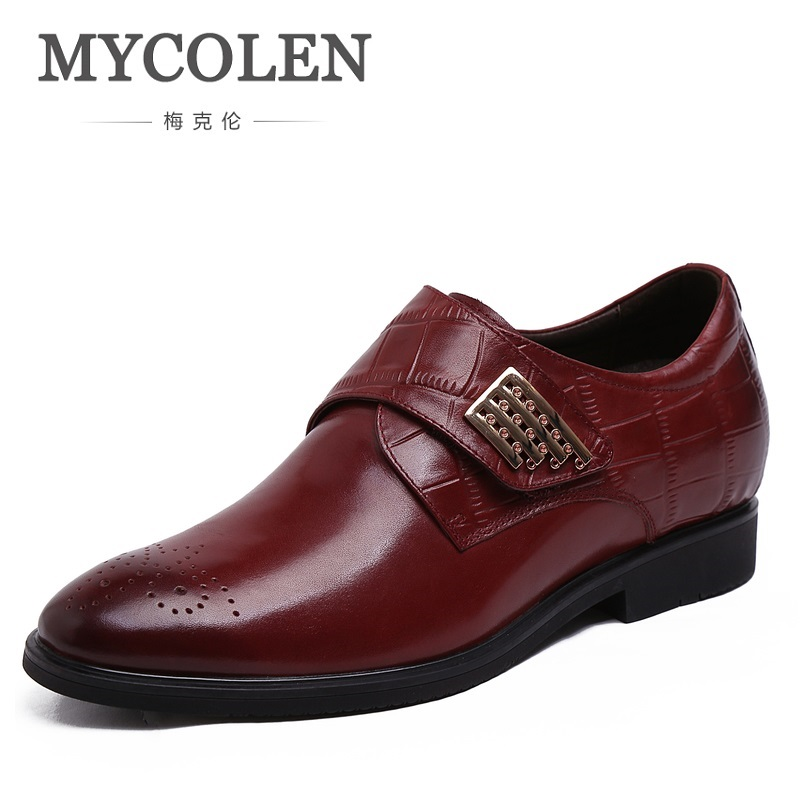 MYCOLEN New Men Dress Formal Shoes Pointed Toe Business Inside Heighten Shoes For Man Real Genuine Leather Male Flats Shoes new arrival men genuine leather flats man pointed toe brogue shoes lace up business men dress shoes formal shoes