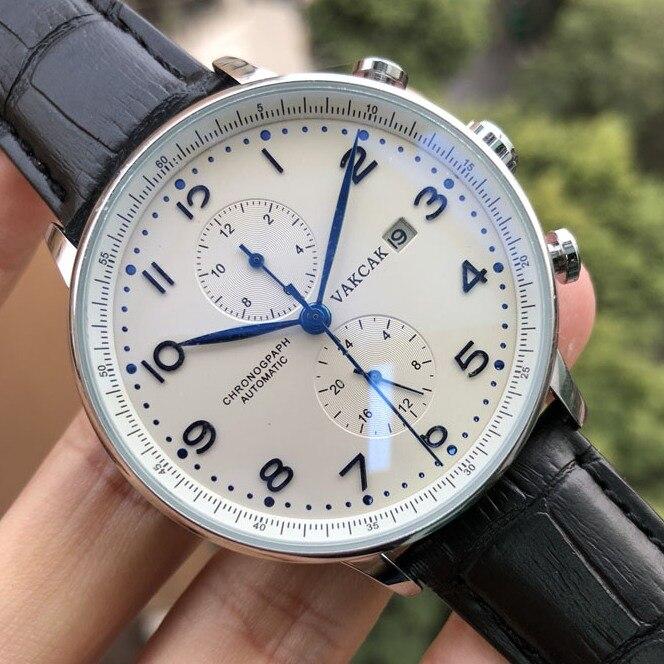 Luxury Brand VAKCAK Blue Mark Watch New Men Automatic Movement Mechanical Self-Wind Mens Stainless Steel Watches Wristwatches