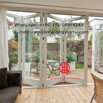 Waterproof Veranda Double Glazing Aluminum Bi Folding Door,Outdoor Dividers Soundproof Fold Door,Patio Pella Room Divider Glass