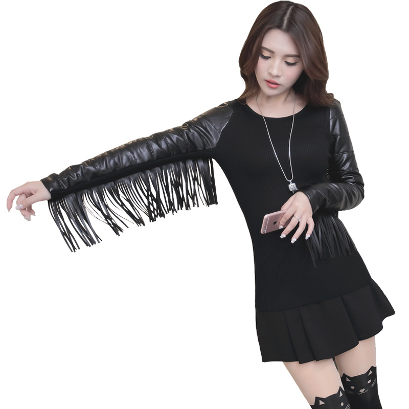 Designer New 2017 Winter Fashion Women Pullover Tassel Faux Leather Cotton Long Sleeve Patchwork Stretch knitting Sweater OM177