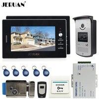 New 7 Color Screen Video DoorPhone Intercom System 2 Monitors 700TVL RFID Access Camera Remote Control
