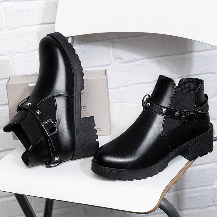 Cortas Botas Casual Las Bottine Zapatos Mujeres Negro Vintage Mujer De 1 Hebilla Invierno Dr Moda Martins Cuadrada qdHZH4