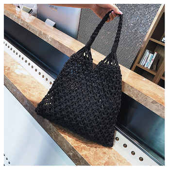 Fashion cotton mesh bag Hollow Out Mesh Design Women Handbags Holiday Tote Canvas Lady Beach Bags Net Simple Shopping Bag String - DISCOUNT ITEM  20% OFF All Category