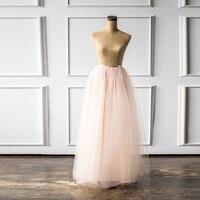 8b1078597 2018 nueva llegada Puffy falda Maxi de tul elástico largo Mujer Faldas  cintura alta dama honor boda fiesta