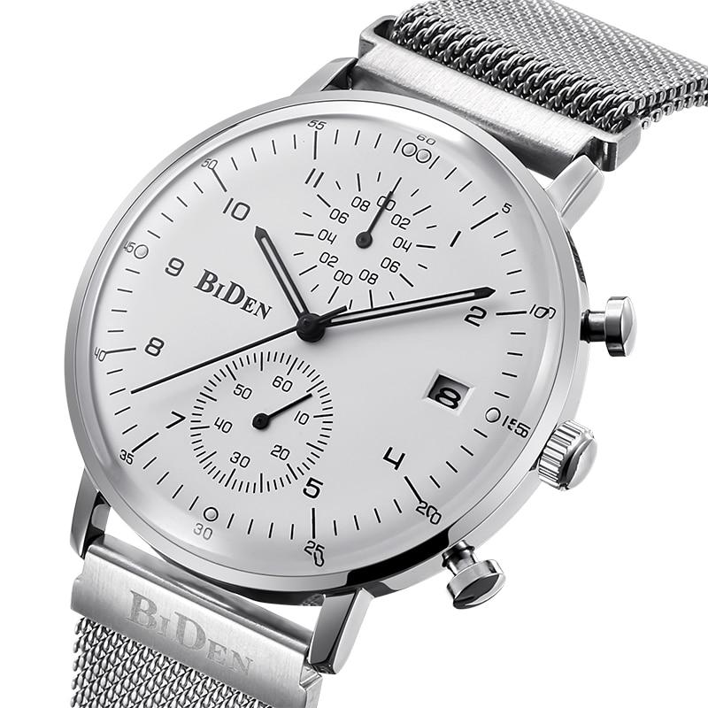 Biden Brand Designer Mens Watches Multi Time Zone Quartz Watch Mens Sport Casual Mesh Stainless Steel Watch relogio masculino
