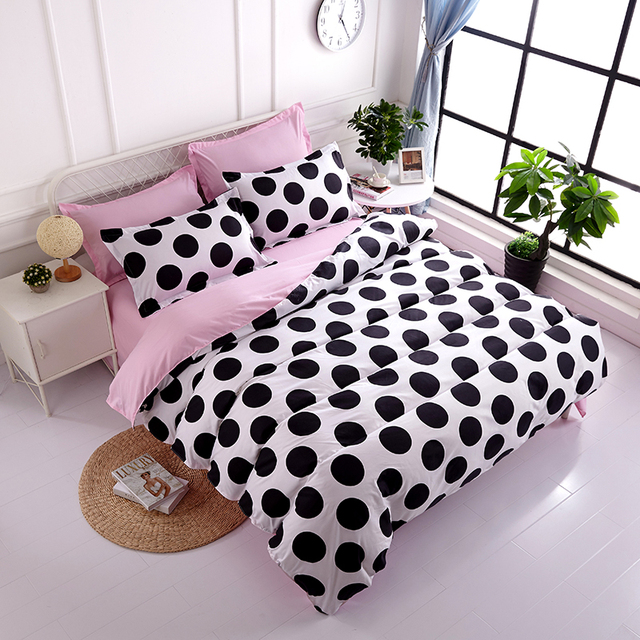 Pink Princess Bedding Sets White Black Endless Cartoon Duvet Cover Twin  Full Queen King Single Double