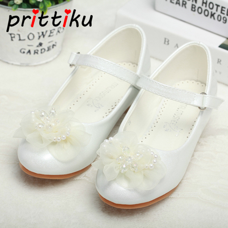 2018 Toddler Girl Pearl Beaded Pumps Little Kids White Pink Low Heeled Mary Jane Flats Big Children Dance Princess Dress Shoes цены онлайн